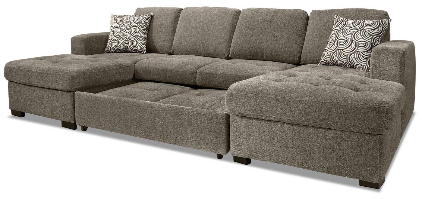 2019 Izzy 3 Piece Chenille Sofa Bed Sectional With Two Chaises Pertaining To Hugo Chenille Upholstered Storage Sectional Futon Sofas (View 17 of 20)