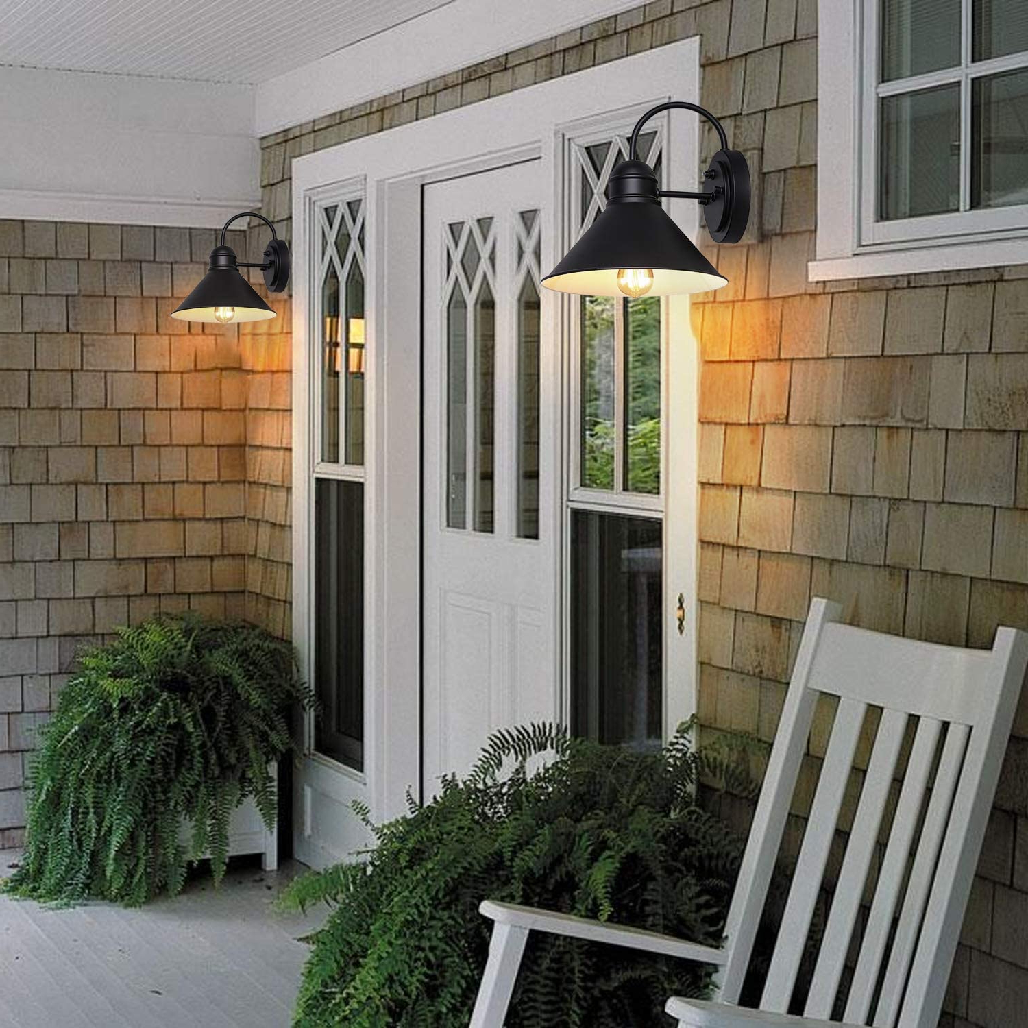 2019 Manteno Black Outdoor Wall Lanterns With Dusk To Dawn Intended For Dusk To Dawn Sensor Outdoor Wall Sconce, Exterior Wall (View 19 of 20)
