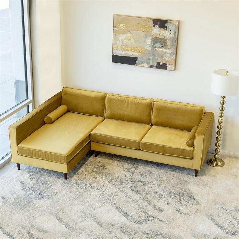 2019 Mid Century Modern Owen Gold Velvet Sectional Sofa Right With Regard To Somerset Velvet Mid Century Modern Right Sectional Sofas (View 20 of 20)