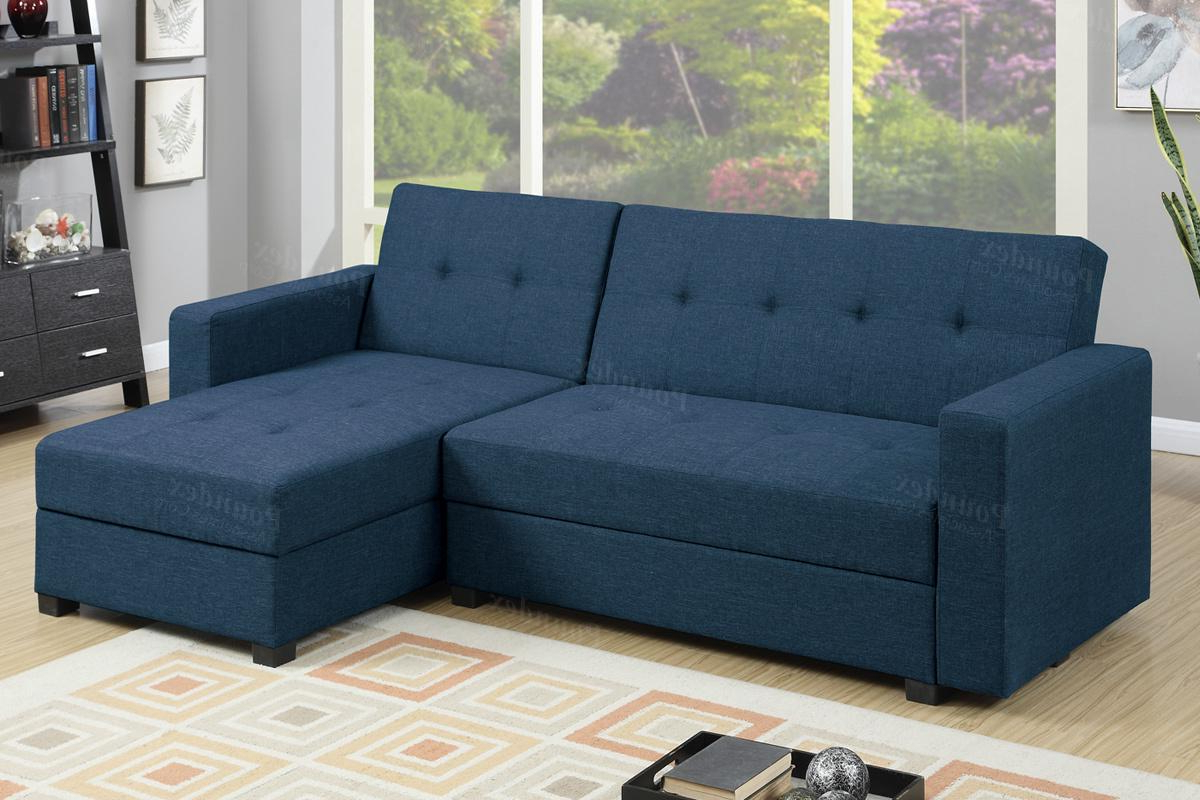 2019 Prato Storage Sectional Futon Sofas Inside Blue Fabric Sectional Sofa Bed – Steal A Sofa Furniture (View 10 of 20)