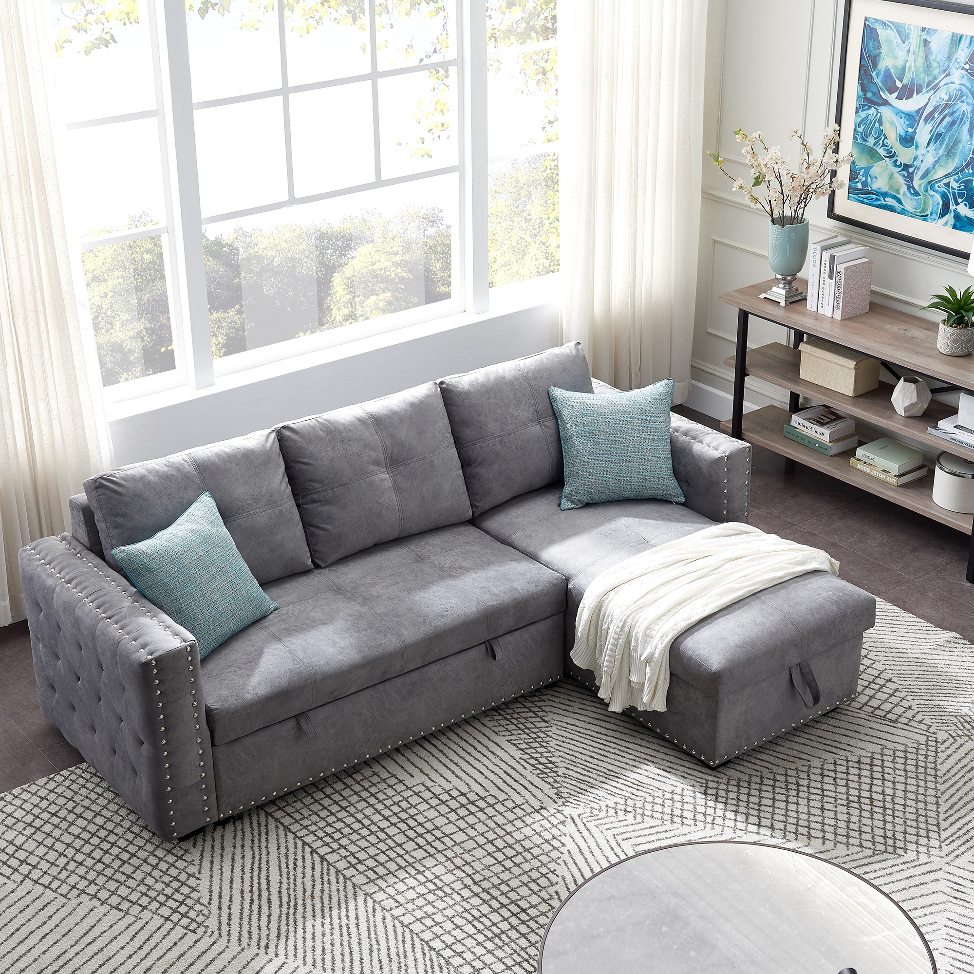 2019 Segmart Sectional Sofa, Gray Fabric – Walmart With Regard To Copenhagen Reversible Small Space Sectional Sofas With Storage (View 6 of 20)