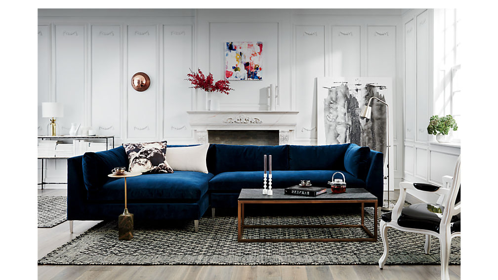 2019 Strummer Velvet Sectional Sofas For Decker 2 Piece Navy Blue Velvet Sectional Sofa (View 19 of 20)