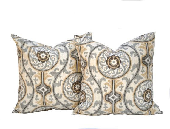 2019 Two Medallion Pillow Covers Home Decor Decorative Pillow In Magnolia Sectional Sofas With Pillows (View 15 of 20)