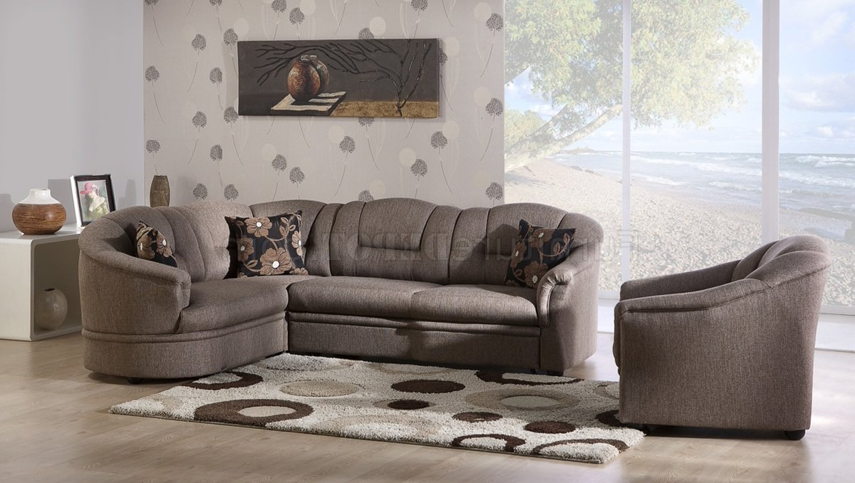 2019 Two Tone Brown Fabric Convertible Sectional Sofa Bed W/storage With Prato Storage Sectional Futon Sofas (View 12 of 20)