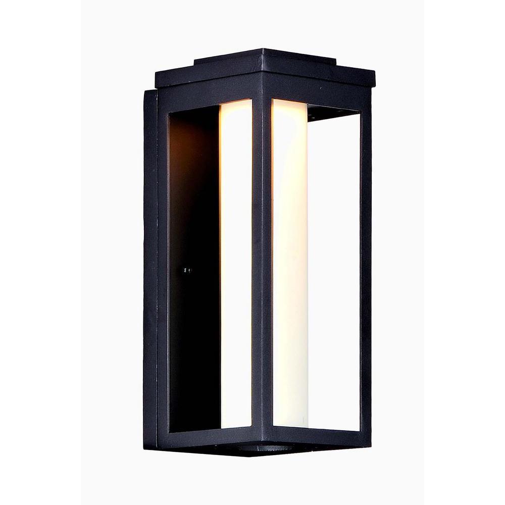 2019 Vernie Black Integrated Led Outdoor Bulkhead Lights Regarding Maxim Lighting Salon 1 Light Black Integrated Led Outdoor (View 6 of 20)