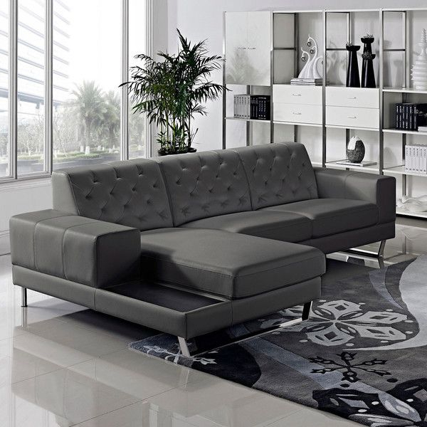 2pc Burland Contemporary Sectional Sofas Charcoal Regarding Latest Stella Contemporary Chaise Leather Sectional Sofa Set (View 8 of 20)