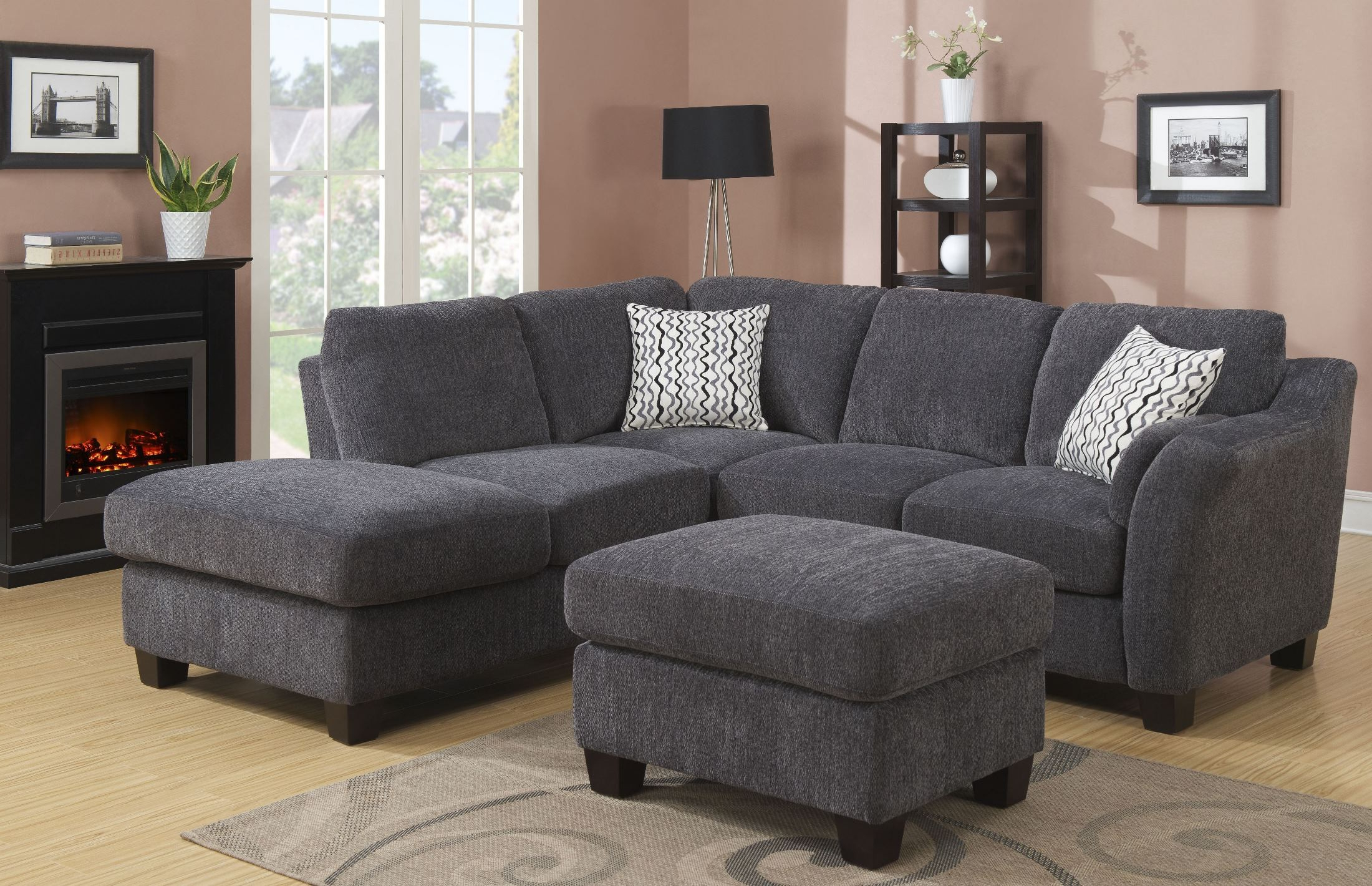 2pc Burland Contemporary Sectional Sofas Charcoal With Regard To Most Recent Clayton Ii Charcoal 2 Piece Sectional, U8060e 11 12 23 K (View 14 of 20)