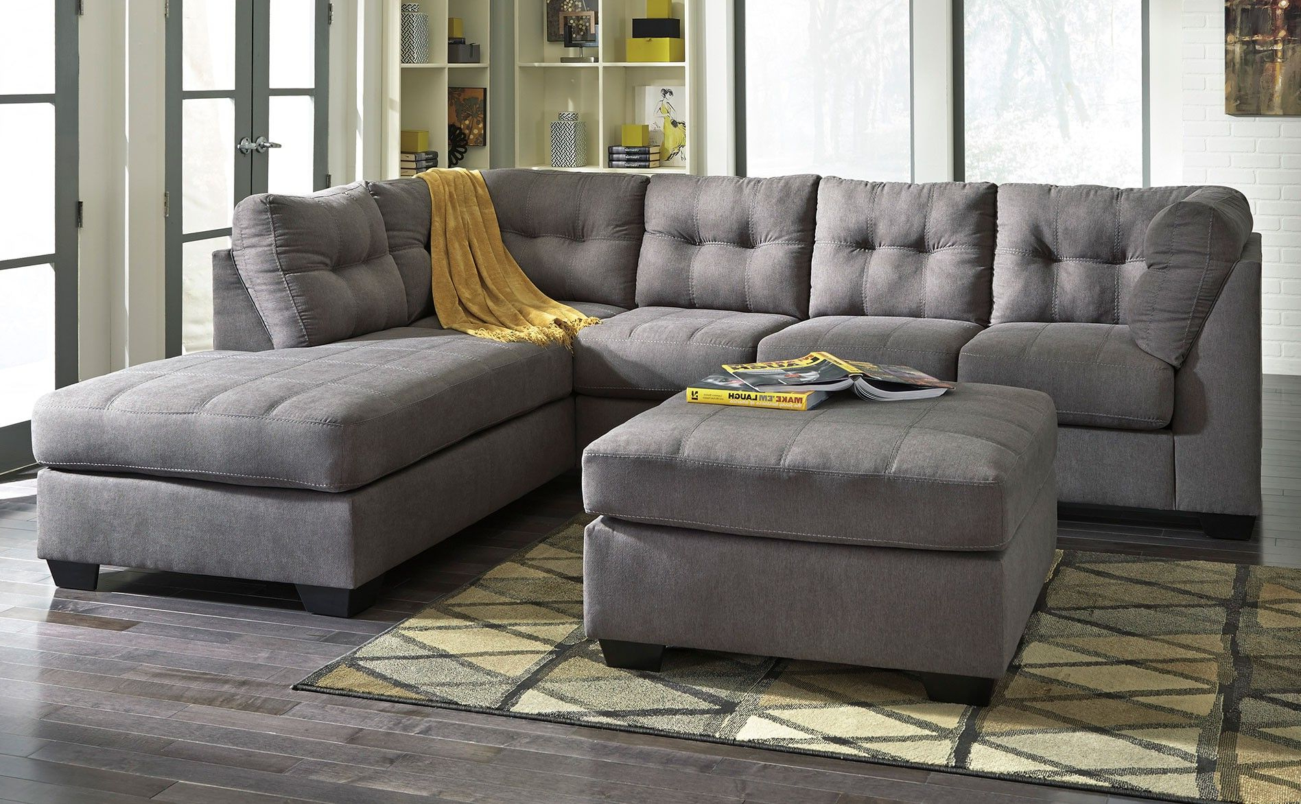2pc Burland Contemporary Sectional Sofas Charcoal With Well Known Ashley Maier Sectional With Right Arm Facing Chaise (View 9 of 20)