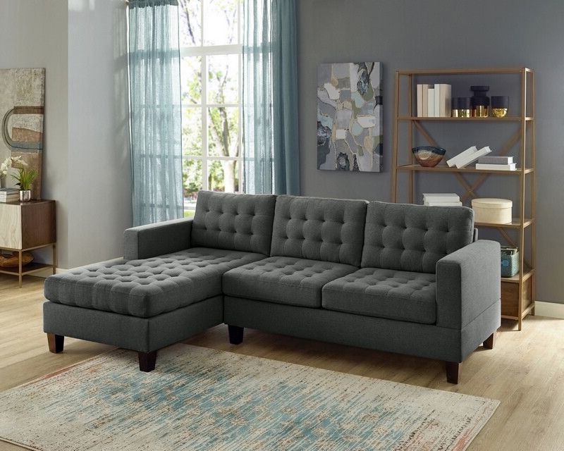 2pc Connel Modern Chaise Sectional Sofas Black Inside Most Recent Oah D6119 2 Pc Clao Ash Black Linen Like Fabric Reversible (View 4 of 20)