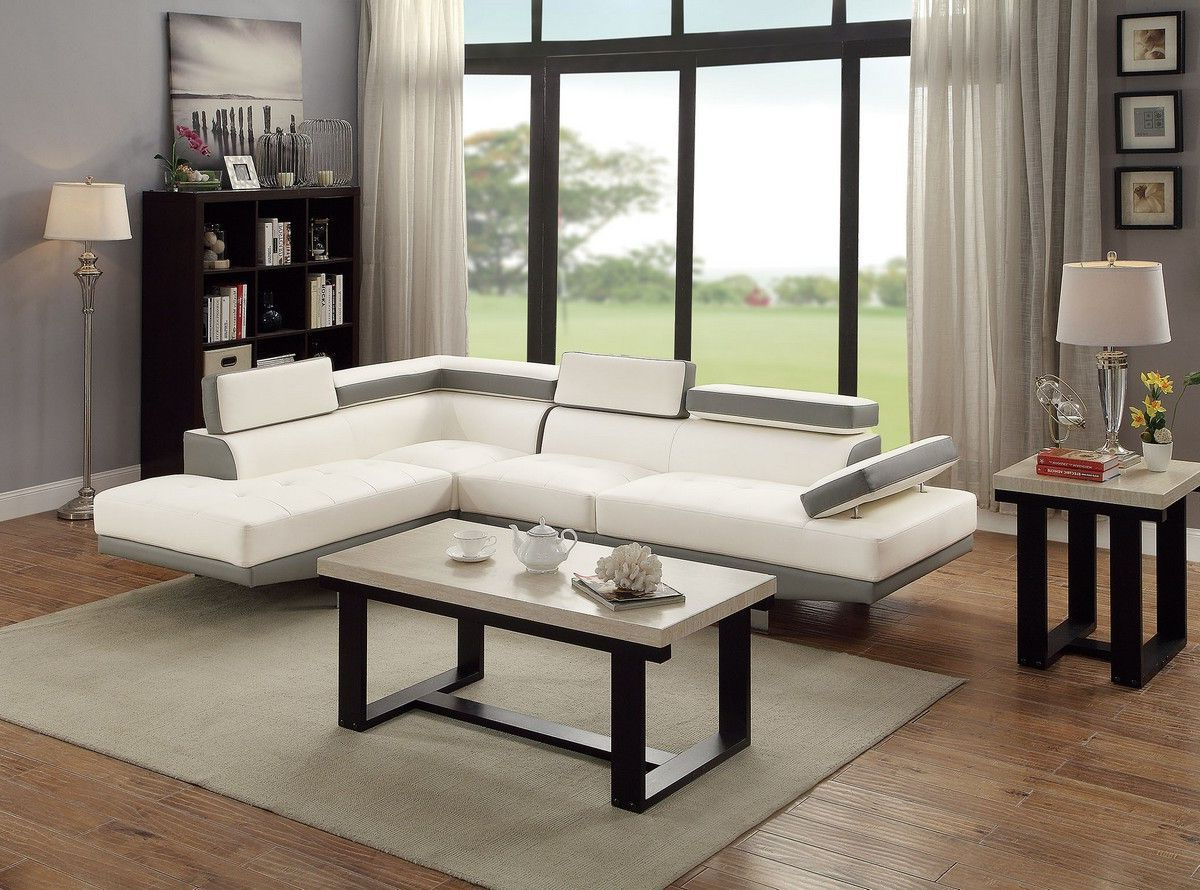 2pc Connel Modern Chaise Sectional Sofas Black Intended For Recent Modern 2pc Sectional Sofa White W Adjustable Head Rest (View 17 of 20)