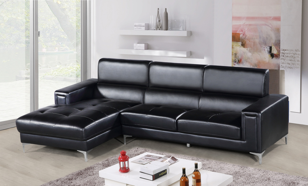 2pc Connel Modern Chaise Sectional Sofas Black With Regard To Well Liked Black 2pc Sectional Sofa Set Contemporary (View 3 of 20)