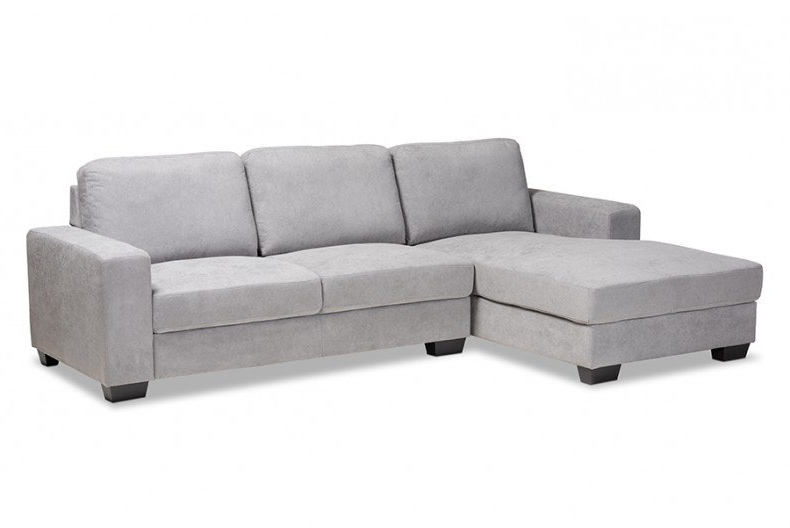 2pc Crowningshield Contemporary Chaise Sofas Light Gray With Latest Nevin Modern And Contemporary Light Grey Fabric (View 9 of 20)