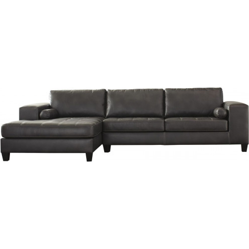 2pc Maddox Left Arm Facing Sectional Sofas With Cuddler Brown Pertaining To Fashionable J&m Furniture Gary Italian Leather Sectional In Grey (View 14 of 19)