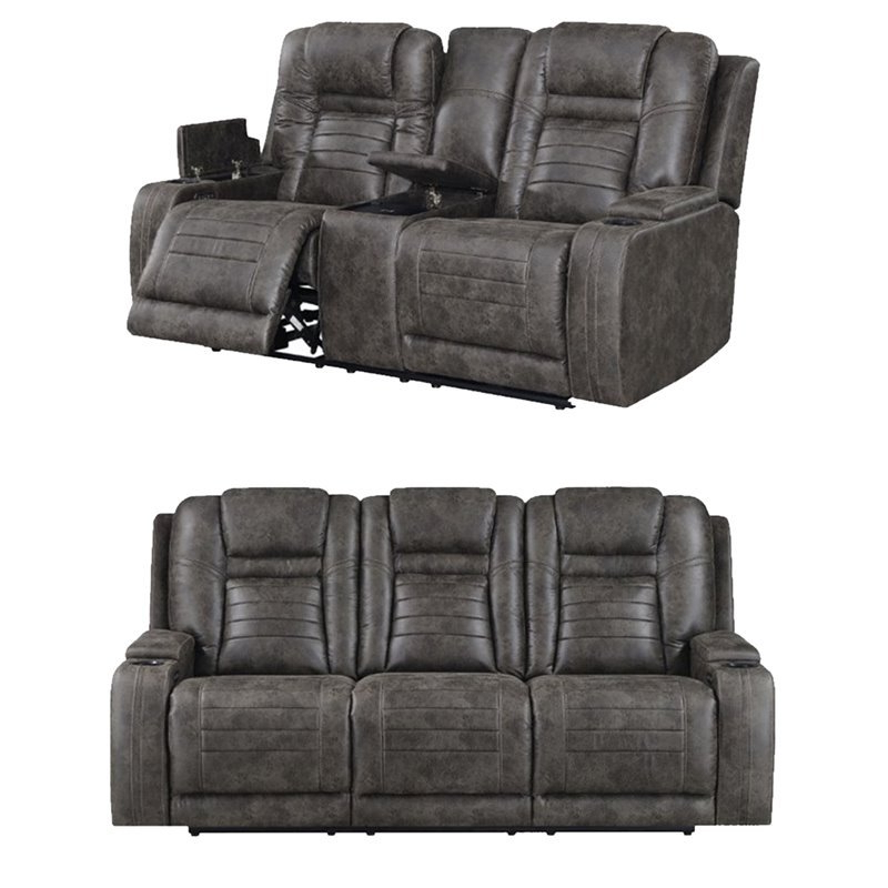 2pc Maddox Right Arm Facing Sectional Sofas With Cuddler Brown Inside 2018 Living Room Sets: Sofa Sets With Couch And Loveseat (View 14 of 17)