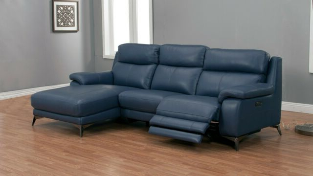 2pc Modern Blue Top Grain Cow Hide Power Recliner Sofa Pertaining To 2018 Bloutop Upholstered Sectional Sofas (View 5 of 20)
