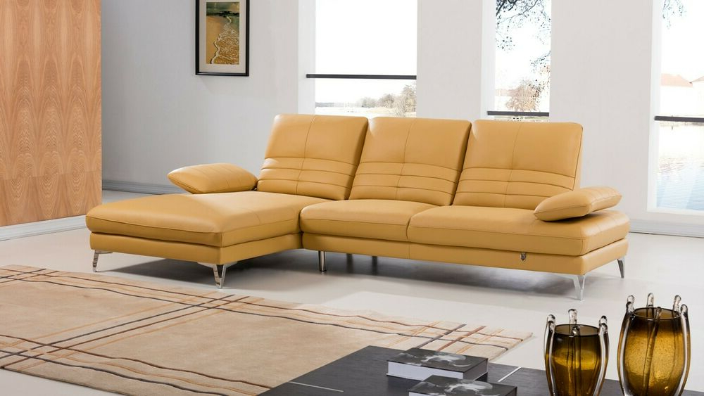 2pc Modern Yellow Italian Top Grain Leather Sofa Chaise For Well Known 2pc Burland Contemporary Chaise Sectional Sofas (View 9 of 20)
