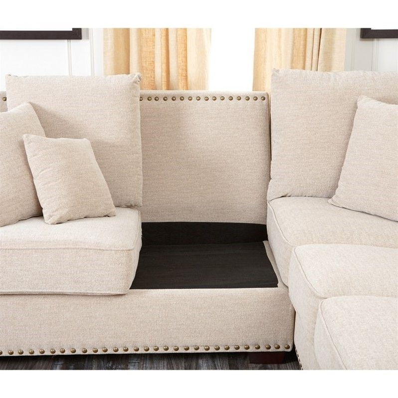 2pc Polyfiber Sectional Sofas With Nailhead Trims Gray In Widely Used Abbyson Bromley Fabric Nailhead Sectional Sofa In (View 19 of 20)