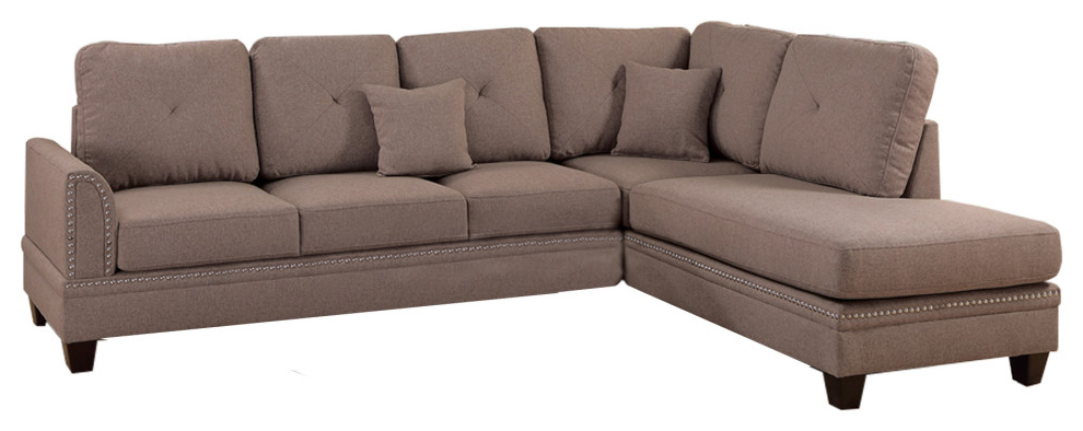2pc Polyfiber Sectional Sofas With Nailhead Trims Gray Pertaining To Preferred Polyfiber 2 Piece Sectional Set With Nail Head Trims In (View 1 of 20)