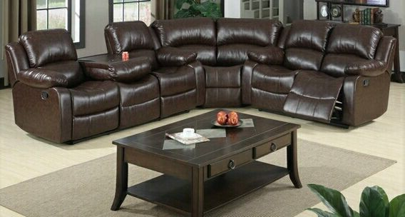 3 Pc Jerome Collection Brown Bonded Leather Upholstered Pertaining To Famous 3pc Bonded Leather Upholstered Wooden Sectional Sofas Brown (View 11 of 20)