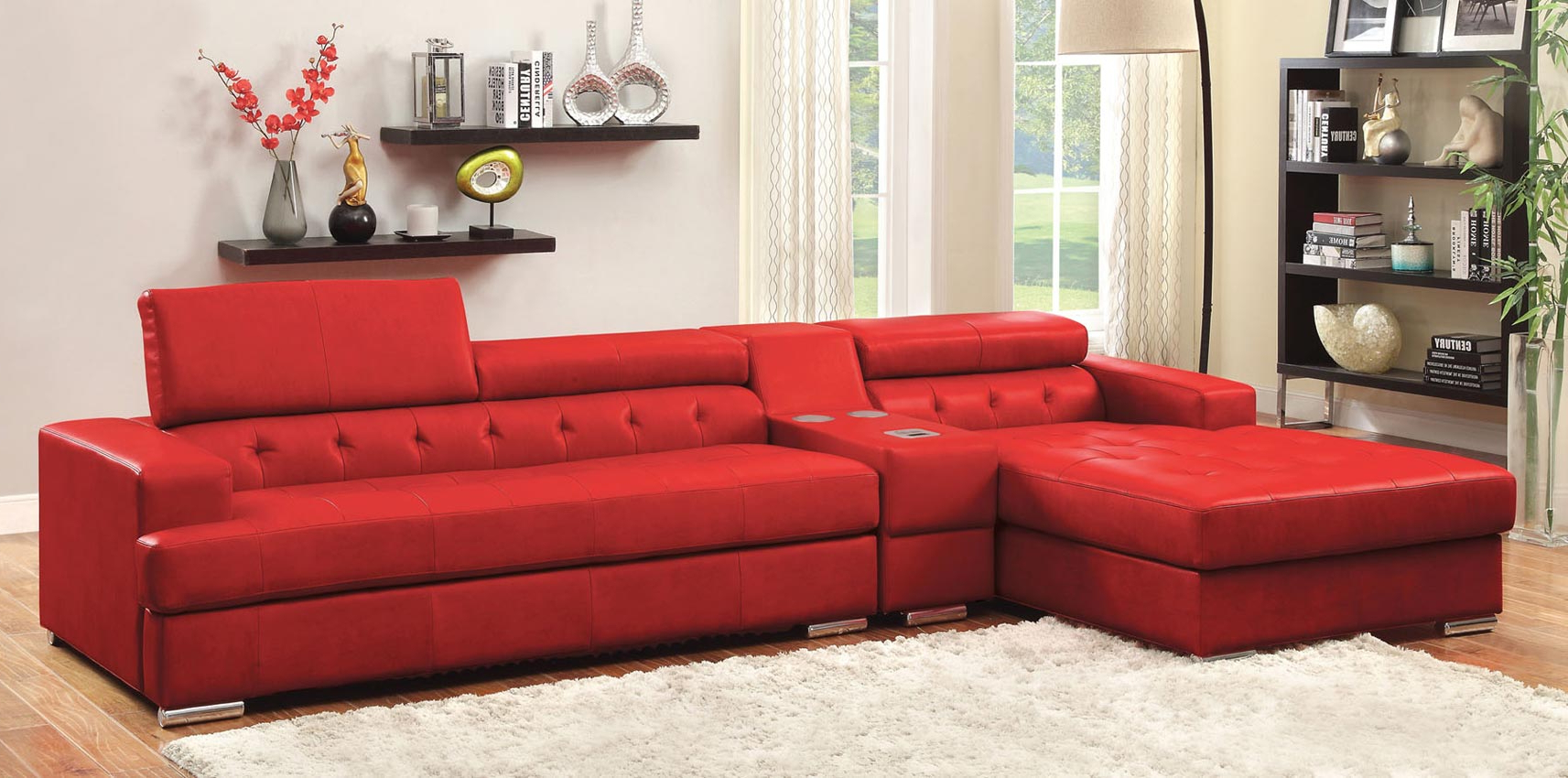 3 Pcs Red Leather Sofa Set With Console Pertaining To Popular Red Sofas (View 4 of 20)