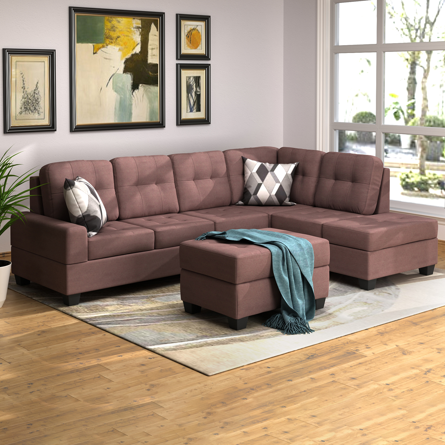 3 Piece Sectional Sofa Microfiber With Reversible Chaise With Regard To Most Popular 3pc Miles Leather Sectional Sofas With Chaise (View 4 of 20)