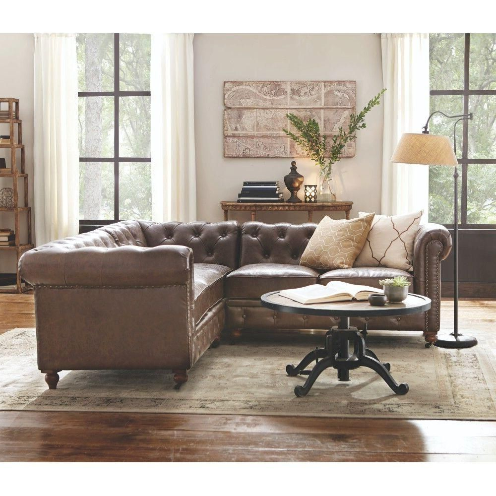 3pc Bonded Leather Upholstered Wooden Sectional Sofas Brown Pertaining To Well Known Home Decorators Collection Gordon 3 Piece Brown Bonded (View 8 of 20)