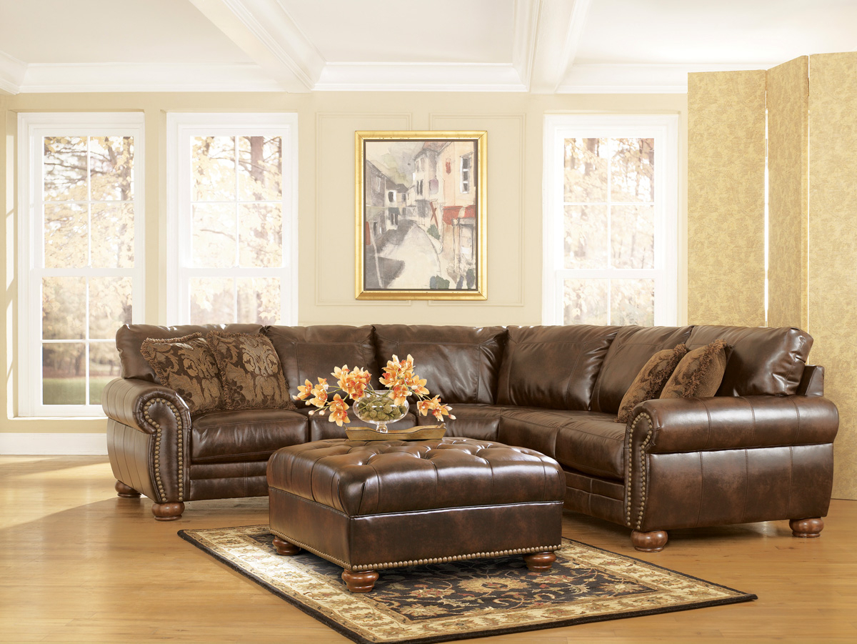 3pc Bonded Leather Upholstered Wooden Sectional Sofas Brown Regarding 2019 Durablend Traditional Antique Brown Sectional Sofaashley (View 10 of 20)
