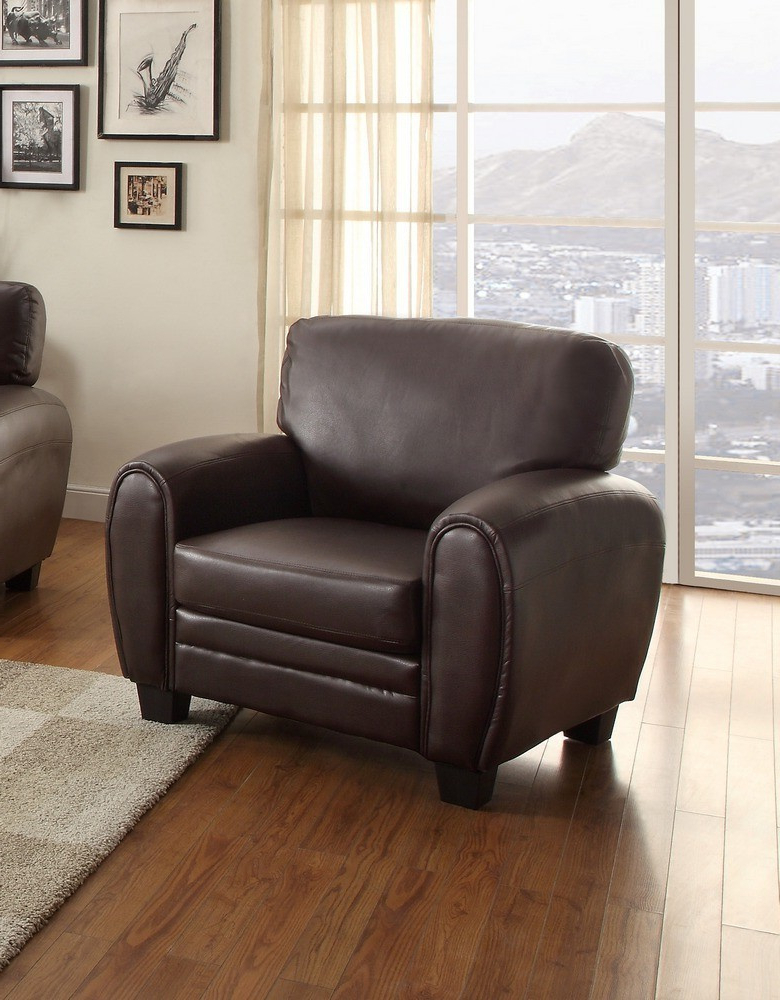 3pc Bonded Leather Upholstered Wooden Sectional Sofas Brown Regarding Well Liked Rubin 3 Pc Dark Brown Bonded Leather Match Sofa Set (View 2 of 20)