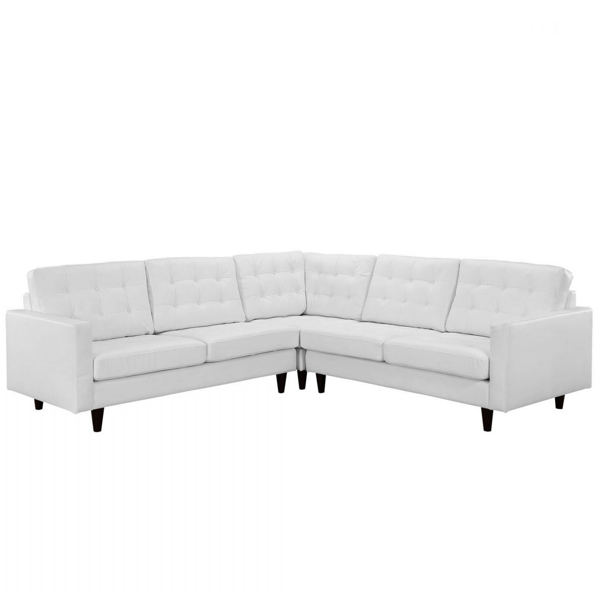3pc Bonded Leather Upholstered Wooden Sectional Sofas Brown With Regard To Fashionable Ellen 3 Piece Leather Sectional Sofa Set – White (View 12 of 20)