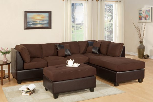 3pc Faux Leather Sectional Sofas Brown Intended For Recent Two Tone Brown 3 Pc Sectional & Ottoman – Paradise (View 3 of 20)