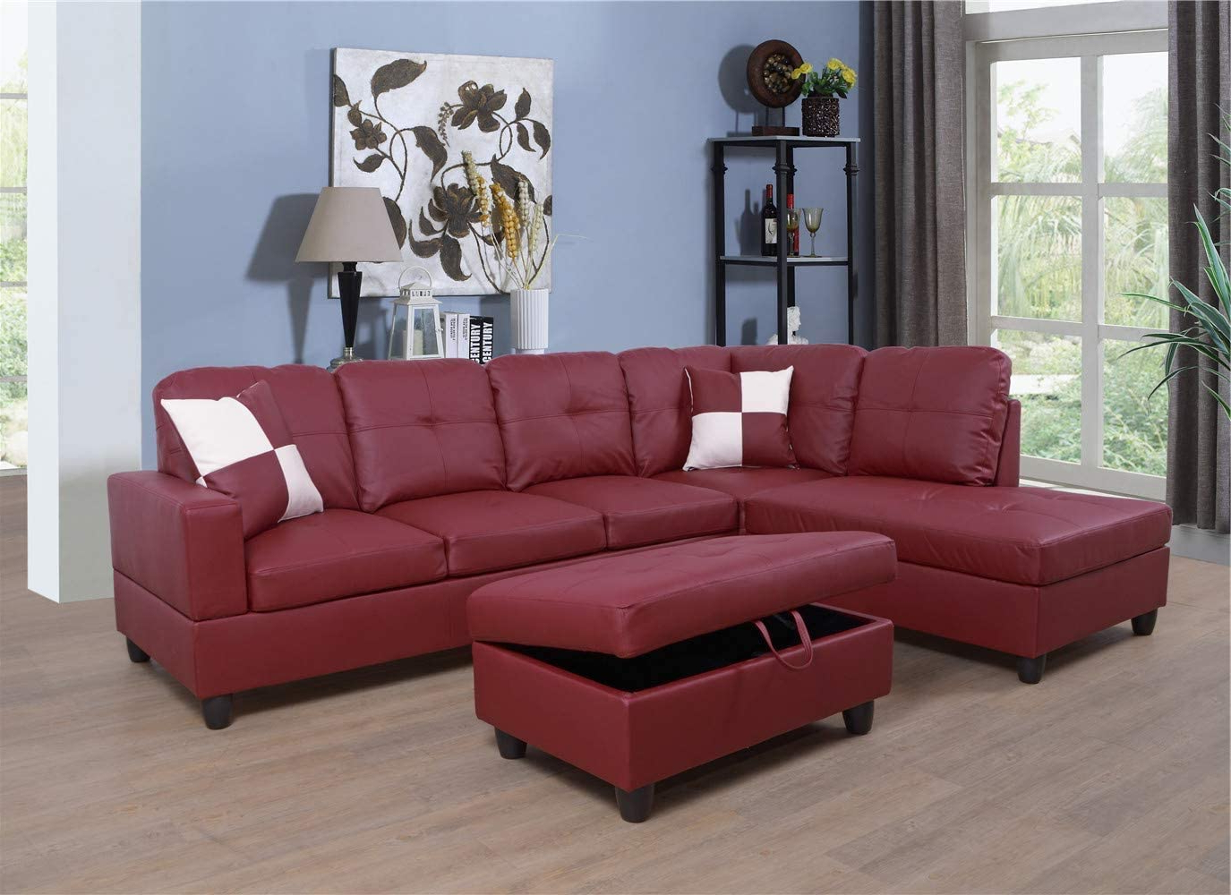 3pc Faux Leather Sectional Sofas Brown With Regard To Widely Used Ponliving Faux Leather 3 Piece Sectional Sofa Couch Set, L (View 4 of 20)