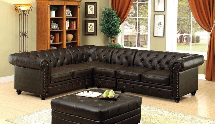 3pc Faux Leather Sectional Sofas Brown Within Most Current Cm6270br 4pc 4 Pc Stanford Ii Brown Faux Leather Sectional (View 6 of 20)