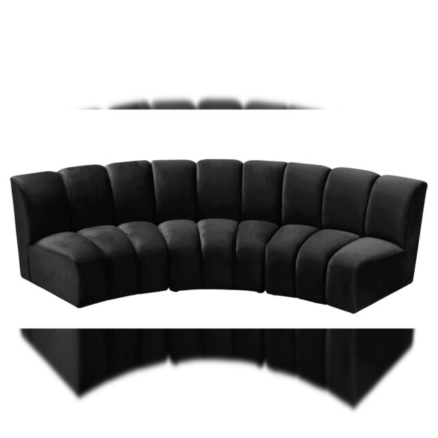3pc French Seamed Sectional Sofas Velvet Black For Famous Black Velvet 638black 3pc Modular Sectional Sofa Infinity (View 15 of 20)