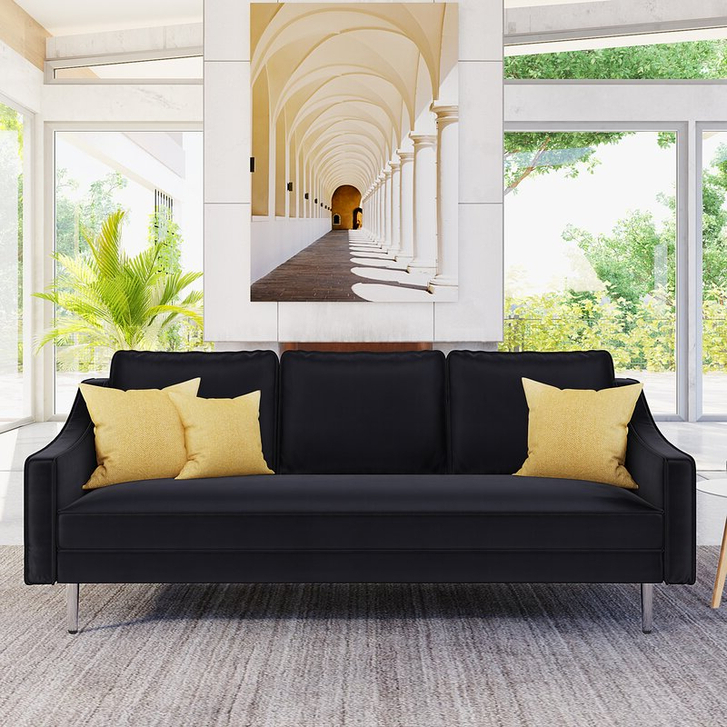 3pc French Seamed Sectional Sofas Velvet Black Within Well Known Mercer41 3 Piece Sofa Set Modern Style Sofa Furniture With (View 20 of 20)