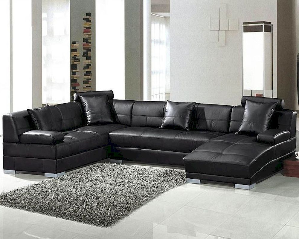 3pc Ledgemere Modern Sectional Sofas Inside Latest Black Modern Leather Sectional Sofa Set 44l (View 17 of 20)