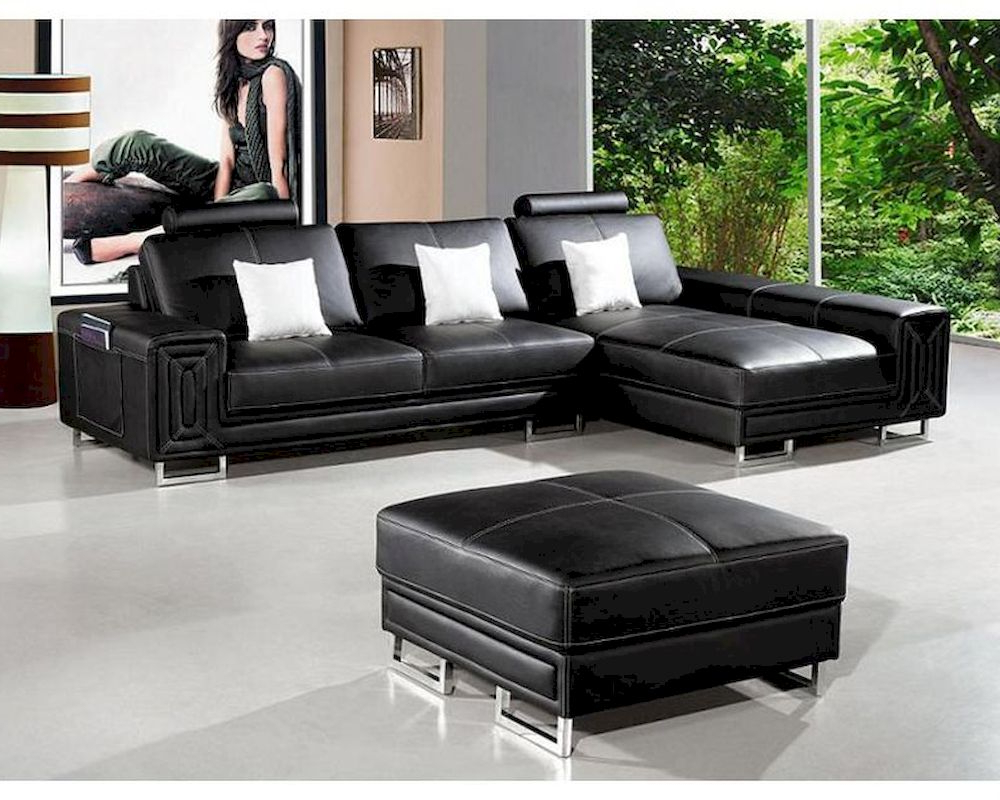 3pc Ledgemere Modern Sectional Sofas Intended For Recent Modern Style Black Leather Sectional Sofa 44li (View 18 of 20)