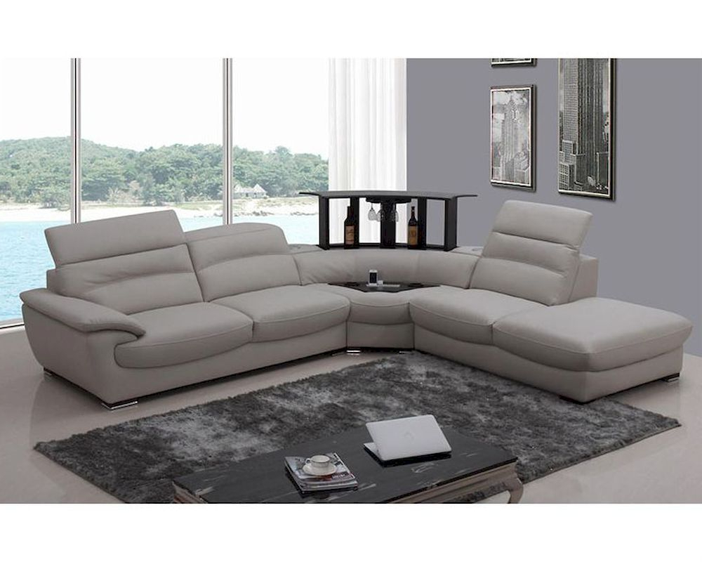 3pc Ledgemere Modern Sectional Sofas Pertaining To Trendy Modern Light Grey Italian Leather Sectional Sofa 44l (View 5 of 20)