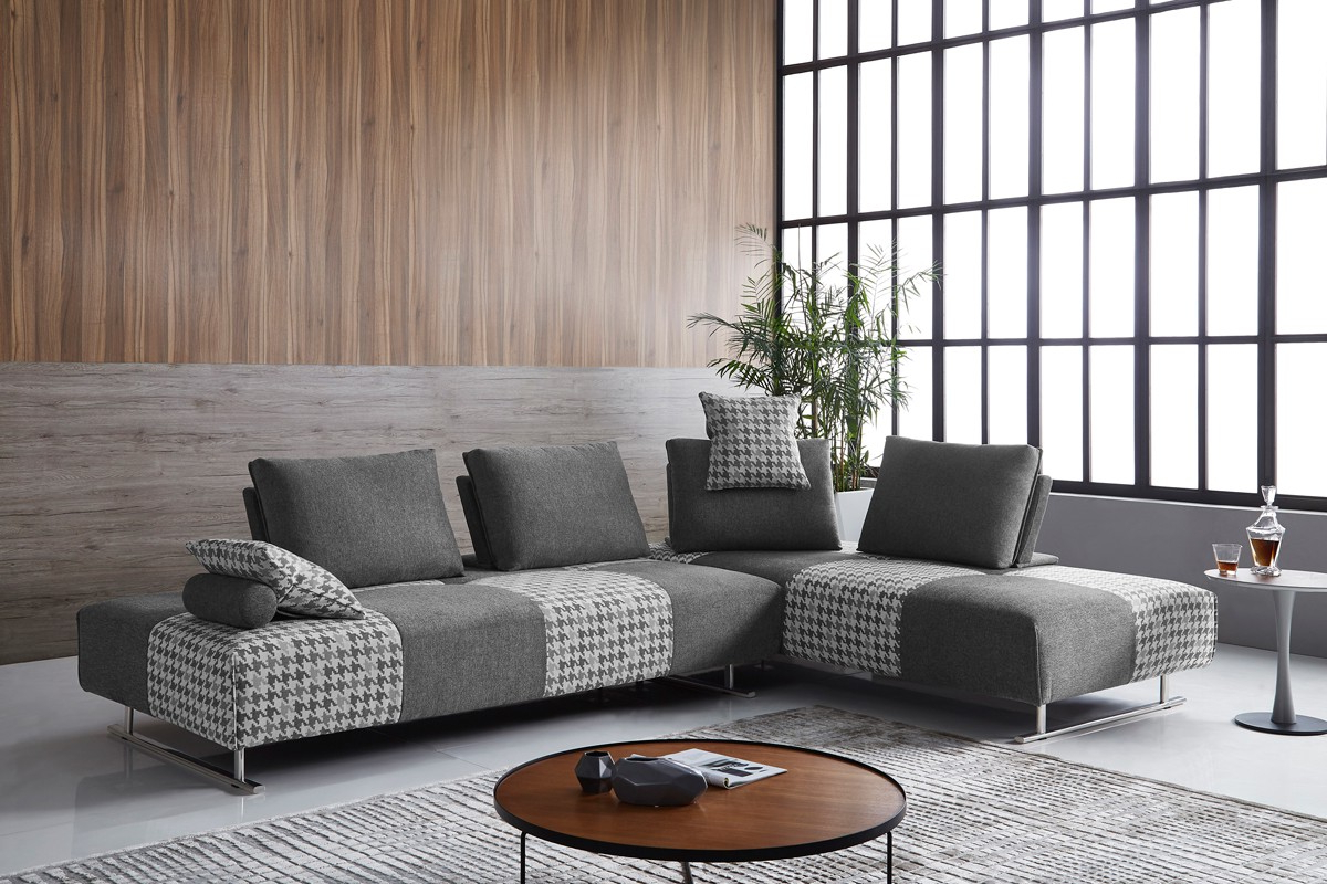 3pc Ledgemere Modern Sectional Sofas Throughout Most Recently Released Divani Casa Cooke Modern Grey Houndstooth Fabric Modular (View 15 of 20)