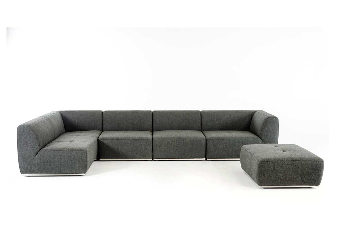 3pc Ledgemere Modern Sectional Sofas Throughout Popular Contemporary Grey Fabric Sectional Sofa Vg (View 20 of 20)