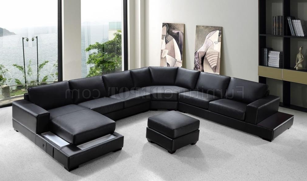 3pc Ledgemere Modern Sectional Sofas With Regard To 2018 Black Bonded Leather Modern U Shape Sectional Sofa (View 1 of 20)