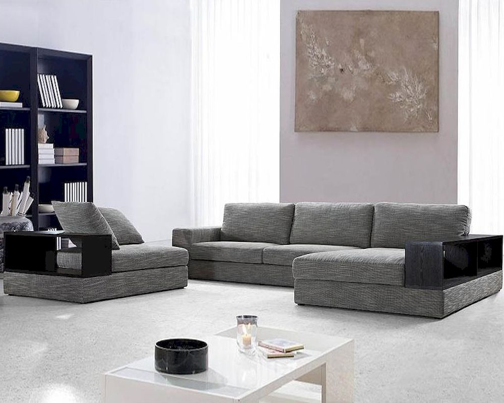3pc Ledgemere Modern Sectional Sofas Within Well Known Modern Grey Fabric Sectional Sofa Set 44l (View 12 of 20)