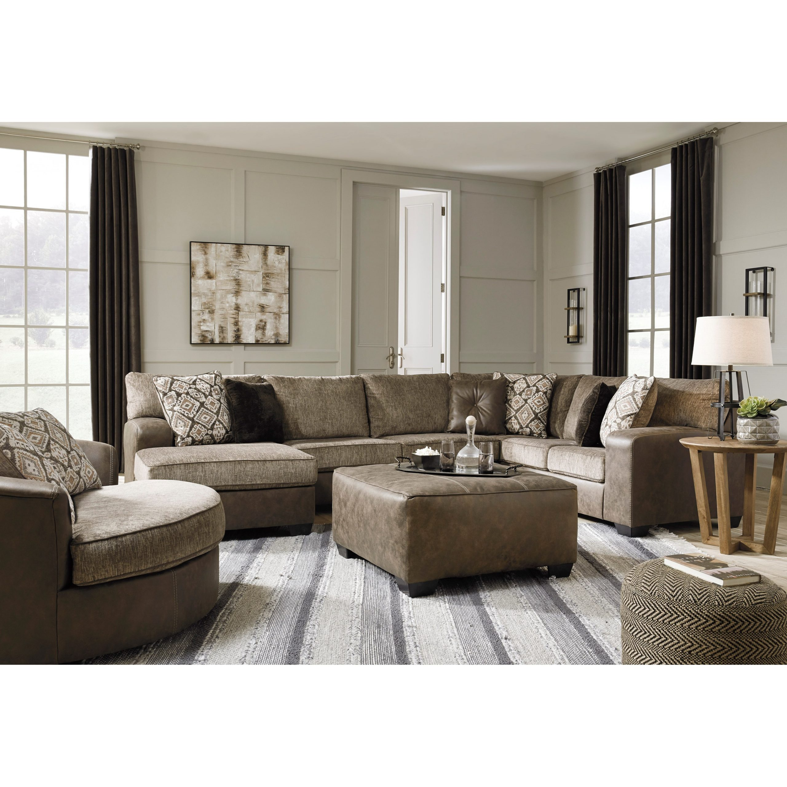 3pc Miles Leather Sectional Sofas With Chaise Inside Most Recent Benchcraft Abalone Brown Faux Leather/fabric 3 Piece (View 15 of 20)