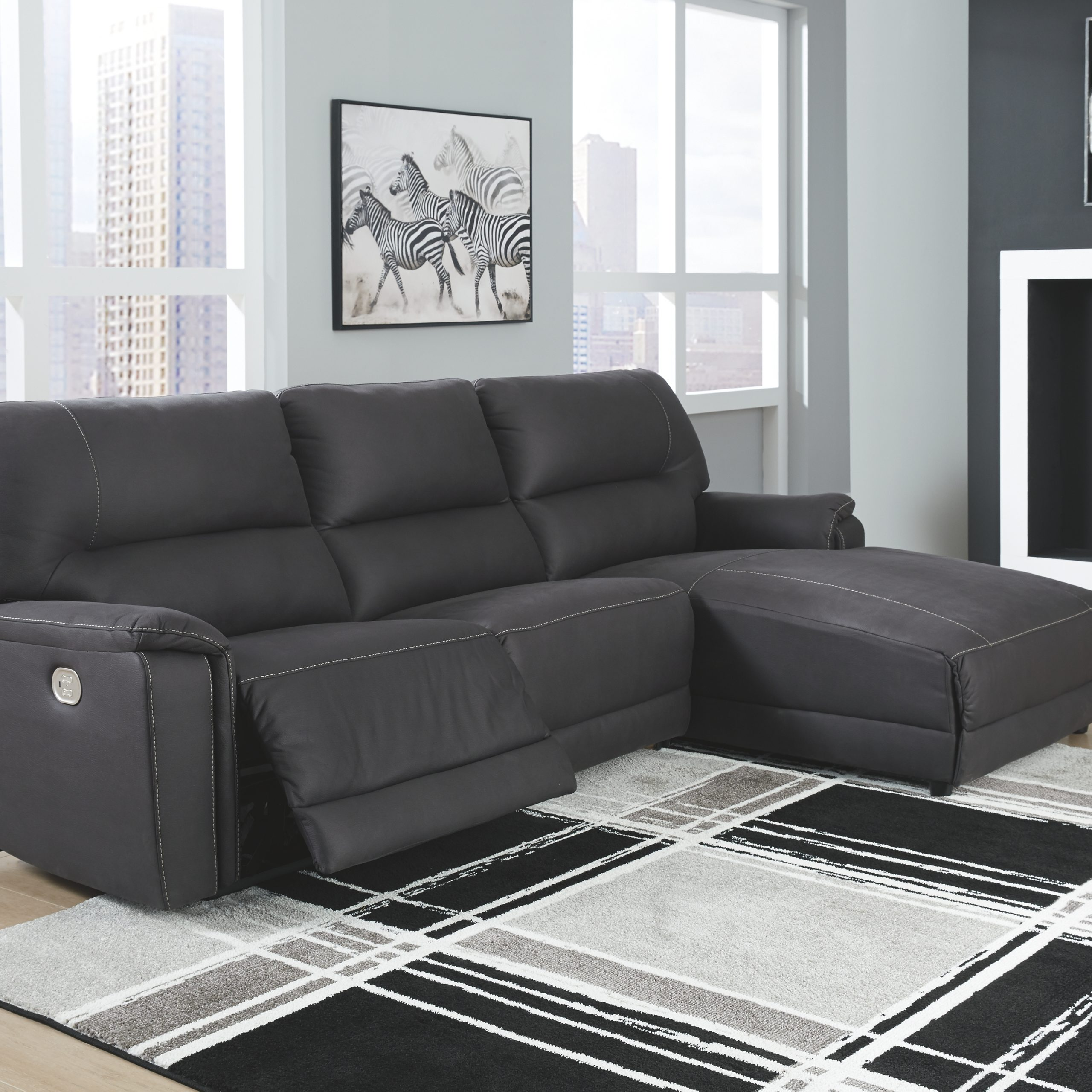 3pc Polyfiber Sectional Sofas Pertaining To Well Liked Henefer 3 Piece Reclining Sectional With Chaise And Power (View 7 of 20)