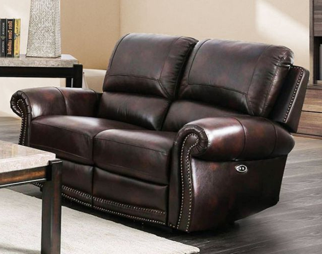 3pc Polyfiber Sectional Sofas With Nail Head Trim Blue/gray Throughout Fashionable 100 Leather Reclining Sofa And Loveseat (View 4 of 20)