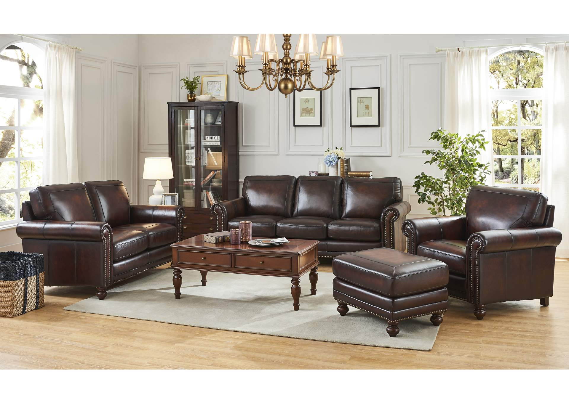 3pc Polyfiber Sectional Sofas With Nail Head Trim Blue/gray Throughout Most Popular Hampton L501m Brown 3 Piece Sofa Set Furniture Outlet (View 20 of 20)