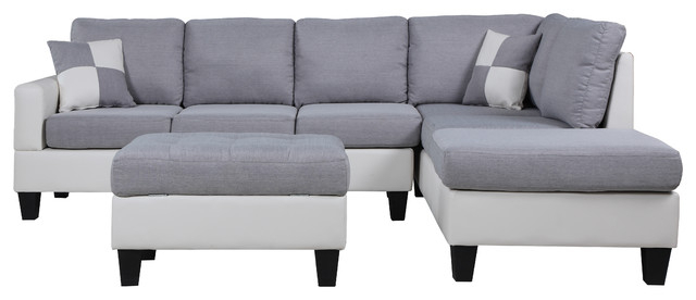 3pc Polyfiber Sectional Sofas With Nail Head Trim Blue/gray Within Recent Classic Two Tone Large Fabric & Bonded Leather Sectional (View 6 of 20)