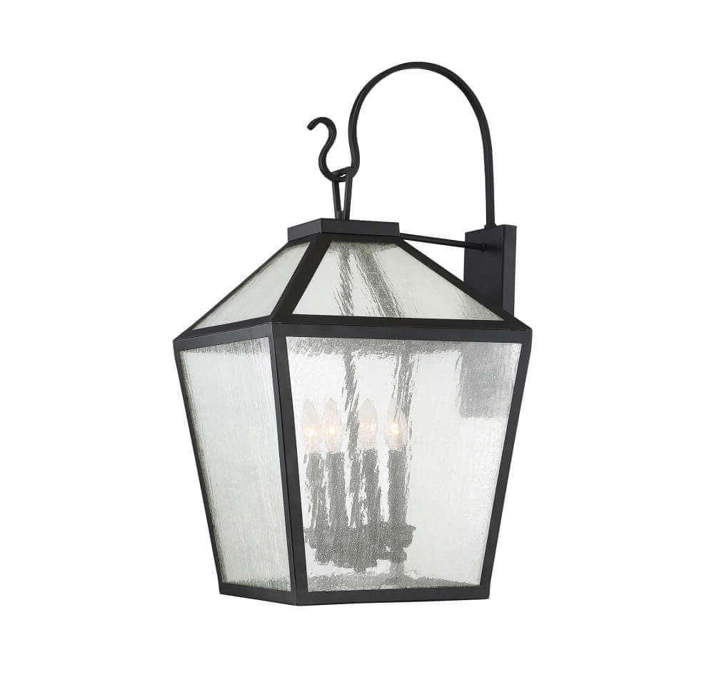 4 Light Modern Farmhouse Black Outdoor Wall Lantern With For Recent Emaje Black Seeded Glass Outdoor Wall Lanterns (View 18 of 20)