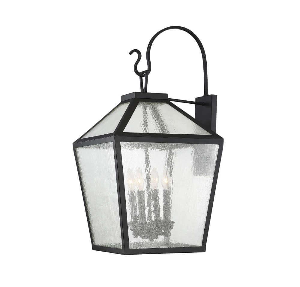 4 Light Modern Farmhouse Black Outdoor Wall Lantern With Regarding Most Recent Cherryville Black Seeded Glass Outdoor Wall Lanterns (View 5 of 20)