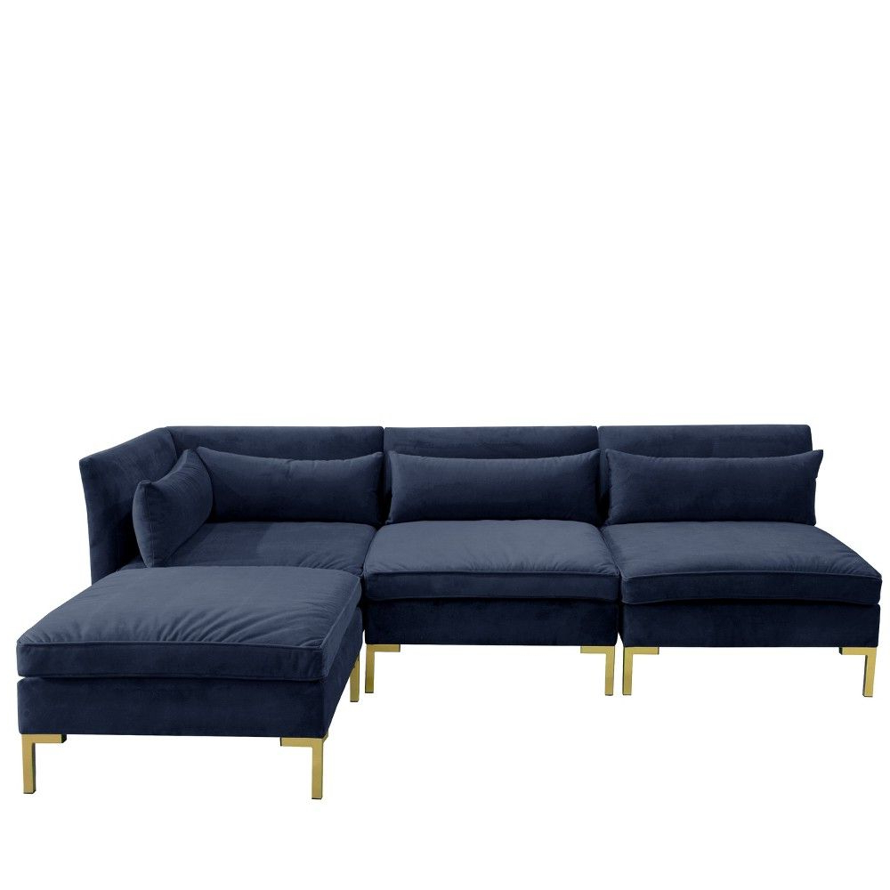 4pc Alexis Sectional Sofas With Silver Metal Y Legs Intended For Popular 4pc Alexis Sectional With Brass Metal Y Legs Navy Velvet (View 5 of 20)
