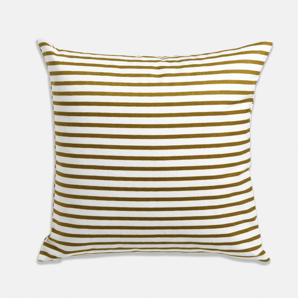 4pc French Seamed Sectional Sofas Oblong Mustard In Fashionable Olive Striped Pillow $ (View 11 of 20)